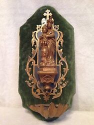 Antique Virgin Mary Madonna And Child Holy Water Font Statue - Green Velvet