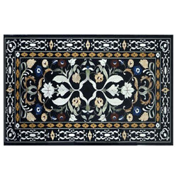 24x48 Rectangular Shape New Design Black Marble Inlay Work Dining Table Top 90