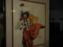 An Original Abstract Watercolor Painting Of Dancing Clown Girl Signed Mae Wygant
