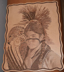 Don Blackwell Tooled Leather Native American Boy And Eagle Pyrography Painting