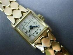 Antique Suter 14kt Yellow Gold 3d Classic Square Swiss Ladies Watch 2219