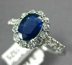Estate 1.47ct Diamond And Aaa Oval Sapphire 14k White Gold Classic Engagement Ring