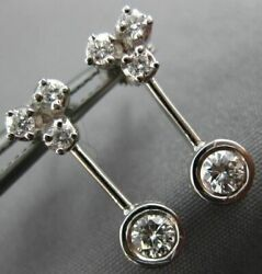 Antique .64ct Diamond 18kt White Gold Classic Solitaire Hanging Earrings 11366