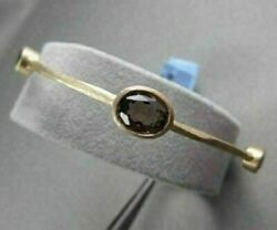 Antique Hammer Look 9mm 2.7ct Smoky Topaz 14kt Yellow Gold Bangle One Of A Kind