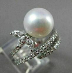 Antique 1.10ct Diamond 10mm South Sea Pearl 14kt White Gold Cocktail Ring 22918