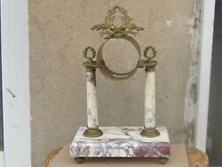 Antique French Portico / Column Clock Case Bronze And Marble -19th C.