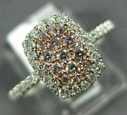 Estate .54ct White And Pink Diamond 14kt White And Rose Gold 3d Cluster Fun Ring
