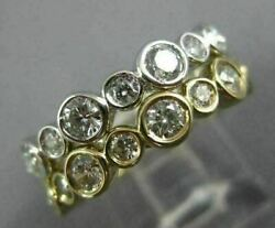 Wide 2.16ct Diamond 14kt White And Yellow Gold Bezel Double Stackable Wedding Ring