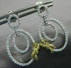 .85ct White And Fancy Yellow Diamond 18kt Two Tone Gold Oval Bow Hanging Earrings