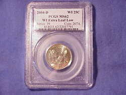 2004 D Wisconsin Extra Low Leaf Pcgs Ms 62 Pq Pl Variety Error Coin