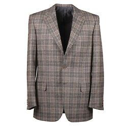 Brioni Gray And Rust Orange Layered Check Soft Flannel Wool Suit 40r Nwt