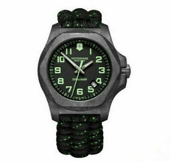 New Victorinox Inox Carbon Paracord Style Black Dial Menand039s Watch 241859
