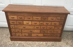 Multi Drawer Antique Oak Store Parts Cabinet 45 In. Wide