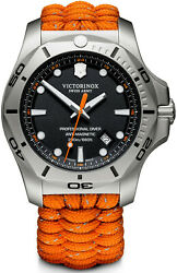 New Victorinox Inox Stainless Steel Paracord Style Black Dial Menand039s Watch 241845