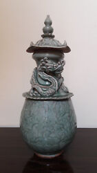 A Large Chinese Antique Celadon Dragon Pagoda Cover Vase