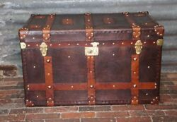 Vintage Handmade Leather Coffee Table Trunk Vintage Leather Trunk Antique Chests