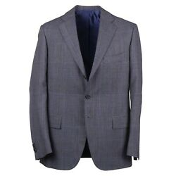 Cesare Attolini Classic-fit Gray And Blue Layered Check Wool Suit 40r Eu 50