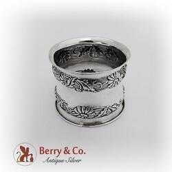 Repousse Floral Waisted Napkin Ring Webster Sterling Silver 1940