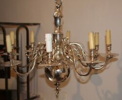 French Antique Silver Plated Bronze Chandelier Entryway Chandelier Silver Light