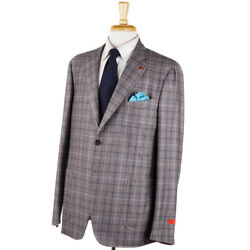 Nwt 3995 Isaia Heather Gray-brown And Blue Check Soft Flannel Wool Suit 44 R