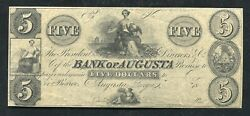 1800's 5 The Bank Of Augusta Georgia Obsolete Remainder Uncirculated
