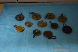 Antique Grandfather Clock Lot Of 11 Pulleys For Project Or Parts