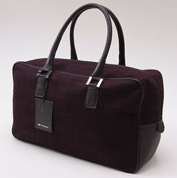 Nwt 2390 Kiton Burgundy Windowpane Check Cashmere And Leather Purse Handbag