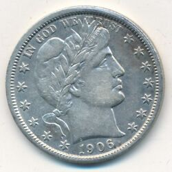 1906-o Barber Silver Half Dollar-outstanding Gently Circulated Coin-ships Free