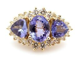 14k Yellow Gold 5ct Tanzanite And Diamond Halo Cocktail Cluster Band Ring Size 8