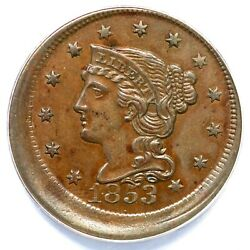1853 Anacs Au 55 Struck 5 Off Center Braided Hair Large Cent Coin 1c