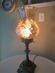 Antique Beautiful Roses On Glass Amber Lamp Shade Vintage Parlor/boudoir Lamp