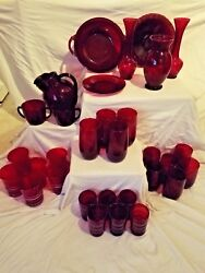 Mint Anchor Hocking Royal Ruby Red Collection 32 Piece Set