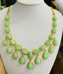 14k Solid Yellow Gold Pendant And Chain Necklace W/ Natural Jade Pear Cut 18 Inch
