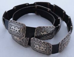 Heavily stamped Navajo rug design Sterling Silver large heavy concho belt
