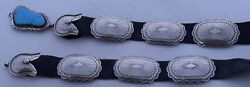 Fine Navajo Sterling Silver And Turquoise, Large Heavy Concho Belt - Foster Yazzie