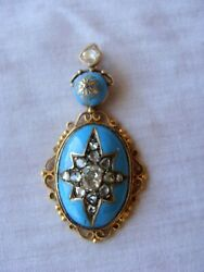 14k Yellow Gold Blue Enamel With Old Mine Cut Diamonds Pendant Circa 1850and039s