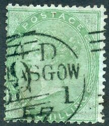 Rare 1856 1/- Pale Green Issue On Azure Paper Wmk Emblems. S.g. 73a.
