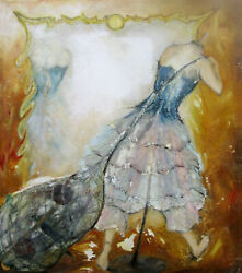 Original Martine LEtoile Oil Painting Dress Mannequin Mirror Large Canvas
