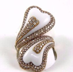 Heart Shape White Agate And Diamond Bypass Ring 14k Yellow Gold 9.93ct