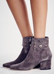Sigerson Morrison Women's Cailyn Suede Heeled Ankle Boots Us 8 Grey Retail 395