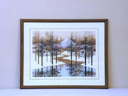 James Hagen Spaceage Snow Park Mid Century Hand Signed And Numbered Fine Art Print