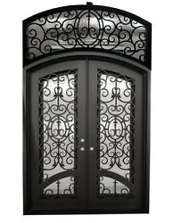 Dawson Double Front Entry Wrought Iron Door With Transom 72