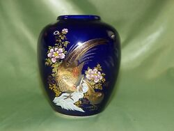 Cobalt Blue Ceramic Vase With Pheasants And Flowers, Vintage Kutani, 5 Inches Tall