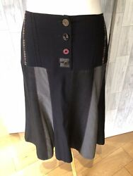 Pause Cafe Quirky Black & Grey Panel Fit & Flare Skirt Uk16 VGC