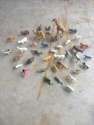 Zoo Animals Play Set Figure Lot Vintage Plastic Old You Get Them All