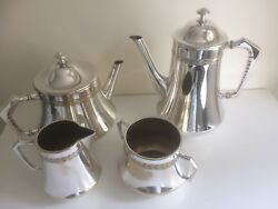 Vintage Art Deco W.m.f. Four Piece Silver Plate Tea And Coffee Service