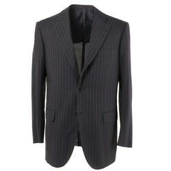 Nwt 5995 Brioni Dark Charcoal Gray Striped Lightweight Wool Suit 40 R