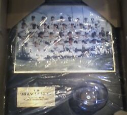 Mlb Nolan Ryan Miracle Met's Signed Ball And Plaque With 8 X 10 Team Picture