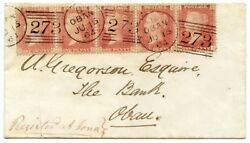 1864 Registered Cover Bearing 5 X 1d Reds From The Island Of Iona To Oban