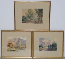 Ernest Tonk Three Watercolor Scenes Of The American West C.1940s